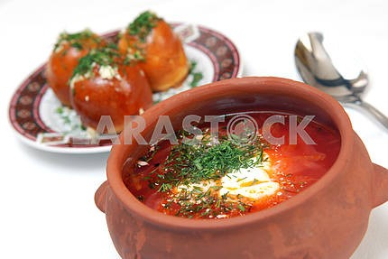 The Ukrainian borsch with sour cream