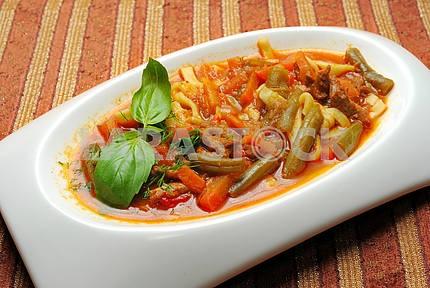 Lagman meal of the Uzbek ethnic cuisine