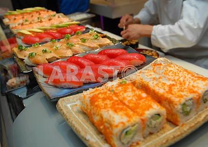 Sushi preparation on kitchen