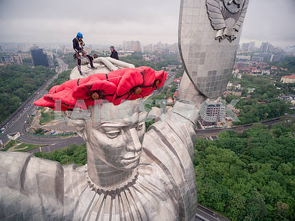 """The monument """"The Motherland"""" was decorated with poppy wreath"""