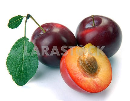 plum and a half and leaves