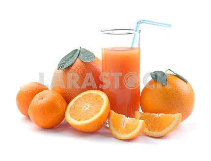 Grapefruit tangerin and orange and juice glass