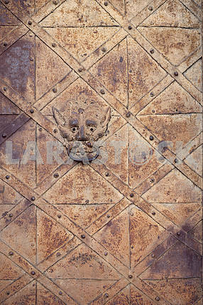Old castle door texture.Ancient door knocker.