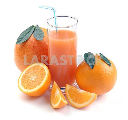 Grapefruit and orange and juice glass