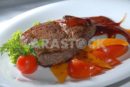 Steak from beef with vegetables