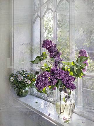 Still life. Treatment. Two bouquet - with lilac and wild flowers on the window.