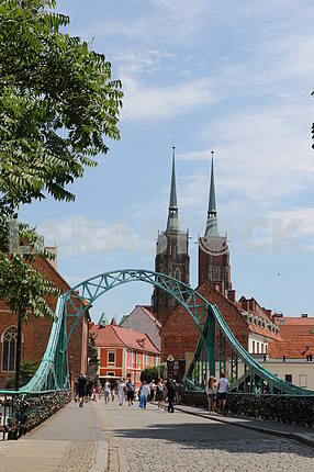 Bridge with views of the Cathedral of St. John the Baptist.