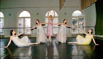 Young ballerina rehearsing choreography class