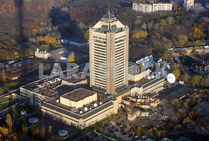 View of the TV center in Kiev with the TV tower