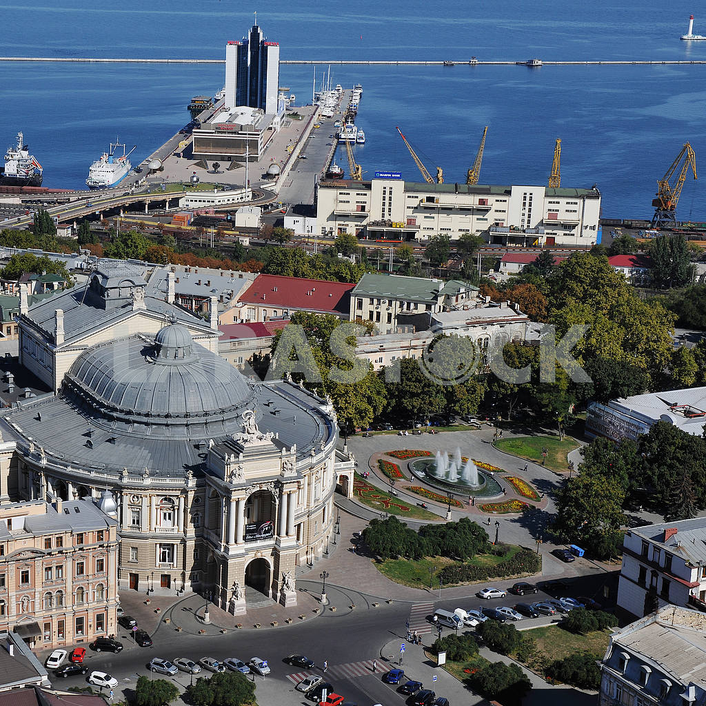 Odessa. Aerial view. Opera house and the port September 27, 2011 — Image 33367