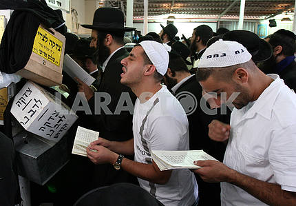 Hasidim in praying near the grave of Tzadik Nachman