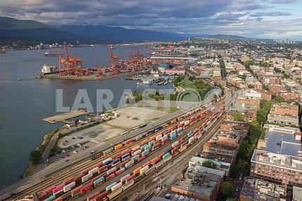 Грузовые железнодорожные перевозки портовые доки Ванкувер, Канада