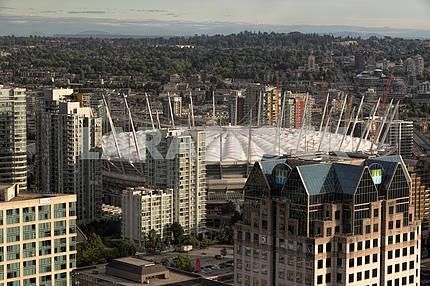 Стадион «Би-Си Плэйс», Ванкувер, Канада вид с высоты птичьего полета.