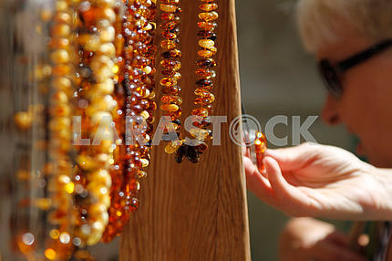 Amber beads at the fair in Lublin