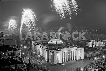 Fireworks over the building of the Supreme Council of Ukraine in Kiev in 1987