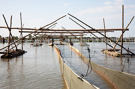Facilities for industrial fishing fishing cooperative on Tonle Sap Lake in Cambodia.