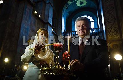 Петр и Марина Порошенко в Софийском соборе