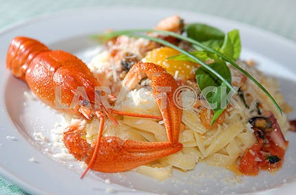 Paste with cheese Parmesan a river lobster and egg