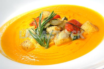 Pumpkin soup with vegetables