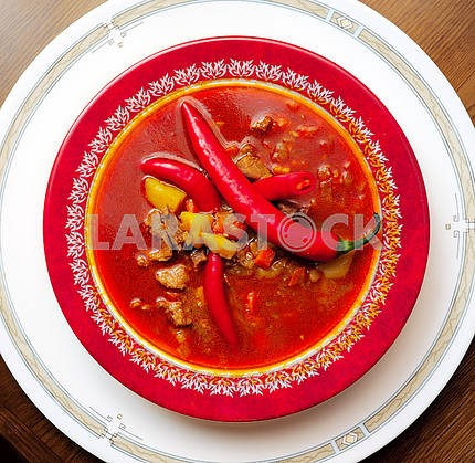 Soup a goulash from vegetables and veal