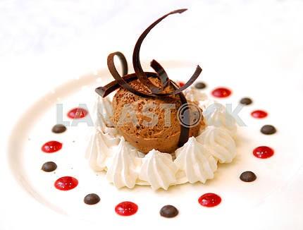 Chocolate ice-cream in whipped cream