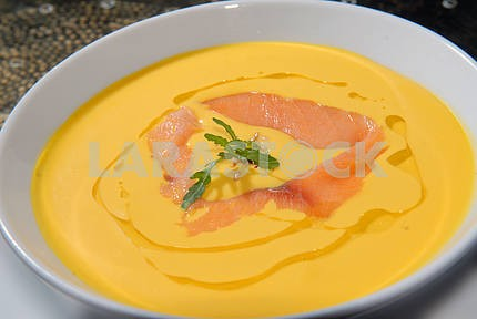 Pumpkin soup with a salmon