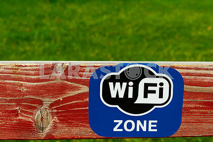 Painted board with the sign Wi Fi