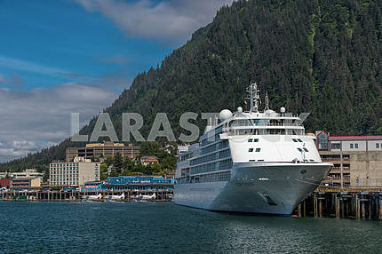 Cruise ship docked in port. Juneau, Alaska