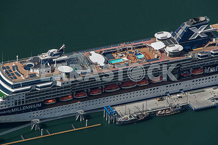 Cruise ship docked in port. Juneau, Alaska