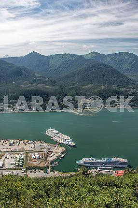 Cruise ship in the port. Juneau, Alaska