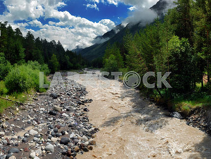 The mountain river Baksan after rains