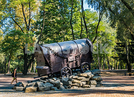 The monument in the form of gypsy caravans in memory of Romakh shot at Babi Yar, in Kiev, 15 September 2016