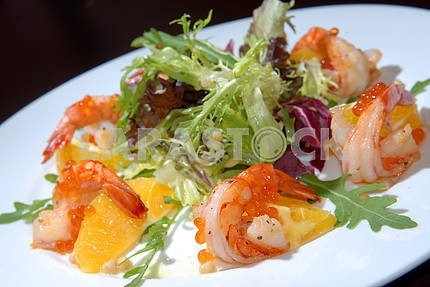 Salad from seafood and vegetables