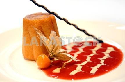 Fruitcake with jam and chocolate