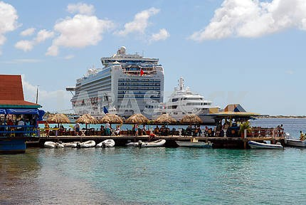 Restaurant and the ocean liner on the Caribbean island