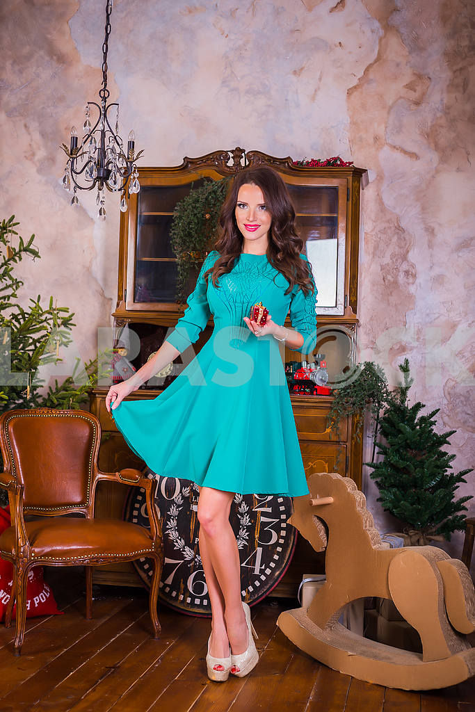 Beautiful brunette woman standing with present in her hands,  among the new year decorations in bright blue dress, smiling — Image 37634