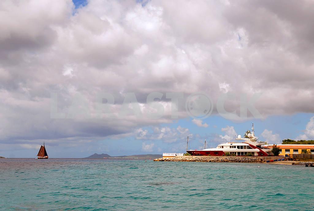 Sailing vessel near a mooring  — Image 3781