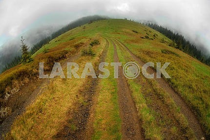 Road going on a ridge