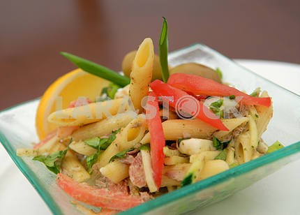 The Italian salad from macaroni and vegetables