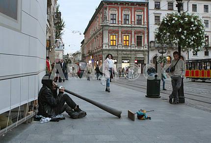 Уличный мызыкант во Львове
