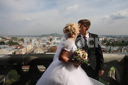 Newlyweds kiss in Lviv