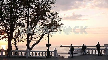Quay of Kornilov in Sevastopol in the pre-hours.
