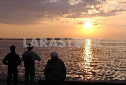 Embankment of Kornilov in Sevastopol at sunset.
