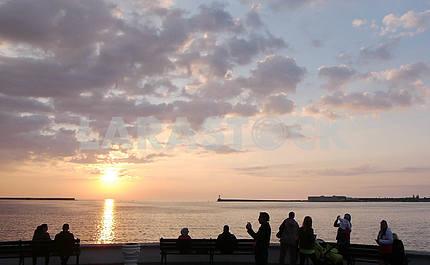 Sunset over the sea, Kornilov Embankment in Sevastopol.