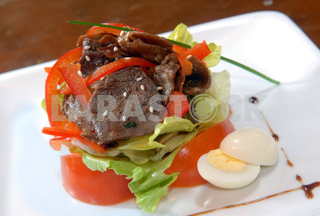 Salad from vegetables and beef meat — Image 3857