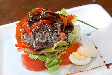 Salad from vegetables and beef meat