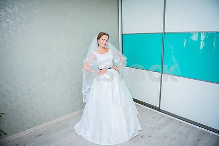 Красивая брюнетка стильная невеста готовится утром в комнате