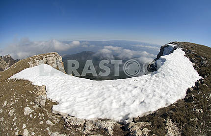Snow on rocks Ah-petri in Crimea