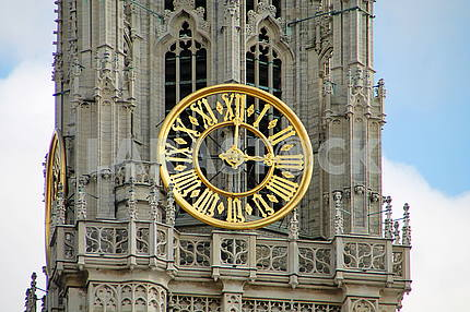 The clock on the tower of the Cathedral of Our Lady