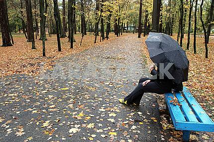 Girl under the umbrella in the park
